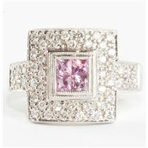 Ladies 18k White Gold Square Cut Pink Sapphire & Diamond Cocktail Ring .80ctw