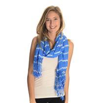 NWT Gypsy 05 Ocean Wash Kayla Fringe Scarf Viscose Cobalt Blue/White Tie-Dye