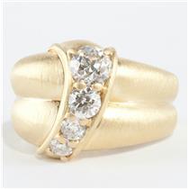 Ladies Jose Hess 18k Yellow Gold Diamond Cocktail Ring W/ Brushed Finish 1.27ctw