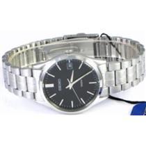 Seiko Men's SGEF01. Silver Tone Stainless Steel Case/Bracelet. Black Dial Watch. 100m Water Resistan