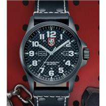 Luminox 1921 Atacama Field. Night Vision. Day/Date. Black: Dial/Leather Strap. 200M Resist Divers Wa