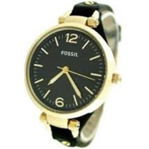 Fossil ES3148  Georgia Womens. Gold Tone Case. Black Leather Strap and Dial