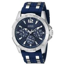 Guess U0366G2. Sleek/Rugged Chronograph. Multi-Function.International Time.Blue Round Dial/Band.100M