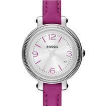 Fossil ES3334.Heather Three Hand Movement.White Dial.Magenta Leather Strap.50m Resist.