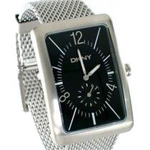 DKNY NY1228. Subdial. Black Dial. Rectangle Stainless Steel Case/Mesh Strap.