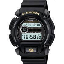 Casio G-Shock DW9052-1B. Shock Resistant. 200M WR.Countdown Timer. Blk Strap w/Gold G