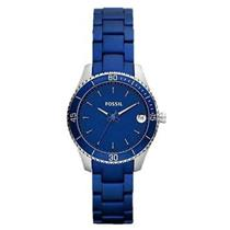 Fossil Women's ES3043. Stella Mini. Analog. Stainless Steel Blue Bracelet. Blue Dial Watch.