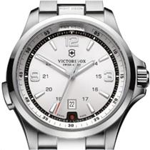 Victorinox Military Night Vision Silver Dial w/ LED Lights Stainless Band 50m Water Resist