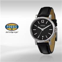Fossil Mens ES2292. Black Dial. Black Leather Strap Watch.