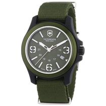 Victorinox Swiss Army 241514. Men's Analog, Swiss Quartz Watch. Military Green Canvas Strap, w/ Mili