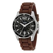 Fossil Men's AM4263. Soft Brown Rubber Strap. Black Dial Watch.