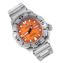 Seiko Men's SKX781. Automatic Diver's Watch. Heavy Stainless Steel Case/Bracelet. Orange Dial w/Day/