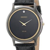 Seiko Watch SUP875 Solar Mens All Black.Gold Crystal Trim/Diamond at 12 o'clock