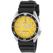 Seiko Men's SKXA35. Automatic Diver's. Black Urethane Strap. Heavy Steel Case. Yellow Dial Watch.