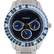 Fossil Women's ES2958. Stella. Baguette Blue Dial. Stainless Steel Bracelet Watch.