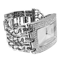 Guess Ladies U12640L1.Bling Crystal Bezel.Silver Dial.Brilliant Stainless Chain Bracelet.