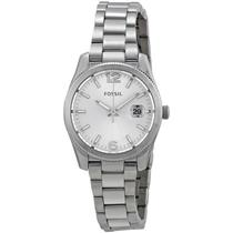 Fossil ES3582. Round White Dial. Silver-Tone Stainless Case/Bracelet. 50M Resist.