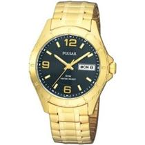 Pulsar Mens PXN174. Dress Easy Read Black Day/Date Gold Stretch Band. Bright Hands.