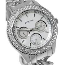 Fossil ES3498.Dress.Stella Series.3 Subdials.Round Silver Dial.Crystal Bezel.Stainless Twist Bracele
