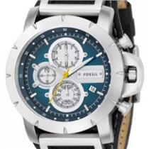 Fossil JR1156. JAKE collection. Analog Stopwatch / Chronograph.Black Leather Cuff/Strap.Blue Dial.
