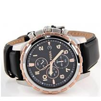 Fossil FS4545.Chronograph.Black Leather Strap.Bezel Fixed/Two-Tone.Black Dial.3 Subdials.Luminiscent