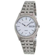 Seiko SNE031 Ladies Solar Day Date.White Dial.Luminous Hands/Markers.Silver-Tone