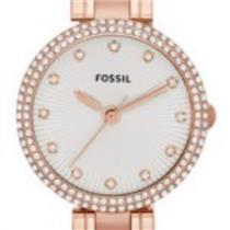 Fossil ES3347.Bling.140 Crystals.Olive Series. Sunburst Silver Dial. Rose Gold-Tone Stainless Case/B