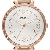 Fossil ES3133.White Dial.Rose-tone Bezel.Heather Brown Leather Strap.50m Resist.