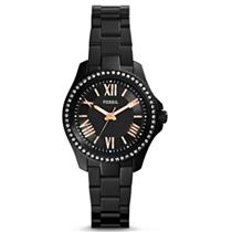 Fossil AM4585.Mini Cecile.Round Black Dial w/Rose Numerals. Black-Tone Stainless Steel Bracelet.100M