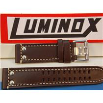 Luminox Watch Band 1820/1840 Series , Dark Brown Leather with White Stitching, Field Model 1827, 23m