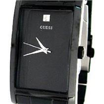 Guess Men's 10610G. Rectangular Dress Watch. Black ION Steel Bracelet/Case w/Diamond Dial