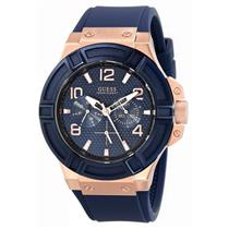Guess Men's U0247G3. Multifunction.Sporty Blue Dial.Rose Gold-Tone Case/Numerals.24 Hour Subdials.Ca