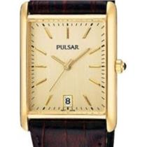 Pulsar PXDA84. Small Rectangular Gold Tone w/Date. Mans Burgundy Strap.