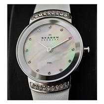 Skagen 812sslw1.  Ladies Petite Bright White Watch. Leather Strap, Steel Silver Tone Jewel Adorned C