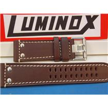 Luminox Watch Band 1880 series, Brown Leather with White Stitching and Steel Buckle, Field Model 188