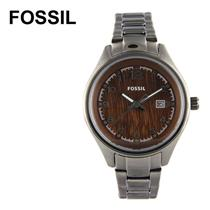 Fossil Women's AM4401. Flight Watch Watch. Black Stainless-Steel Bracelet.Brown Dial.
