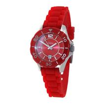 "Fossil Womens ES2937. "" Riley "" . Red Soft Touch Rubber Bracelet Watch."