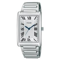 Pulsar PH9053.Dress. Rectangular Textured White Dial.Stainless Expansion Bracelet.30M Resist.
