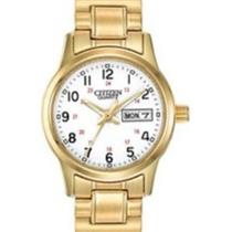 Citizen EQ0582-90A.Easy Reader. Analog.White Dial.Gold-Tone Expansion Band.30M Resist.