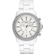 Fossil Women's CH2671. Stella Chronograph. White Crystal. White Dial. White Rubber Watch..