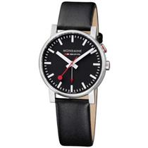 Mondaine A468.30352.14SBB. Swiss Quartz.Evo. Alarm. Black Dial. Black Leather Strap.Second Hand.30M