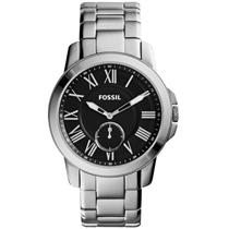 Fossil FS4973. Grant.Vintage Heritage Style.Subdial.Round Black Dial.Roman Numerals.Stainless Case/B