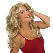 Deja Vu Retro Disco Hippie 70s Feathered Blonde Wig