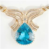 Ladies Stunning 18k Yellow Gold Pear Cut Blue Topaz & Diamond Necklace 73.59ctw