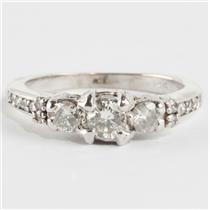Ladies 14k White Gold Round Cut Three-Stone Diamond Engagement Ring .92ctw