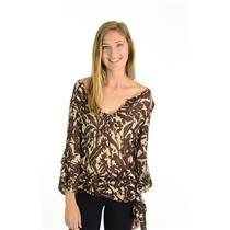 Sz S BCBG Maxazria 100% Silk Cream Brown Floral Print Blouse 3/4 Sleeve Top