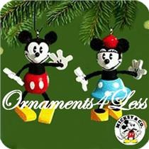 2000 Mickey Mouse and Minnie Mouse - Set of 2 Miniature Ornaments - QXD4041