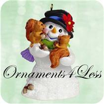 2003 Snow Buddies #6 - Snowman and Squirrels - QX8097 - NO MEMORY CARD