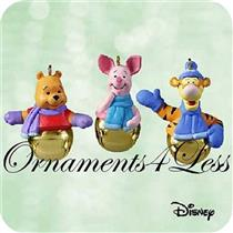 2003 Ring A Ling Pals - Set of 3 Miniature Winnie The Pooh Ornaments - QXM5077 - SDB