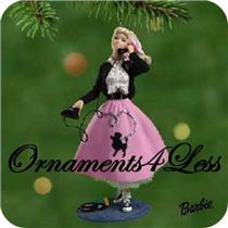 2001 1950's Barbie Ornament - Poodle Skirt Barbie - QXI8882